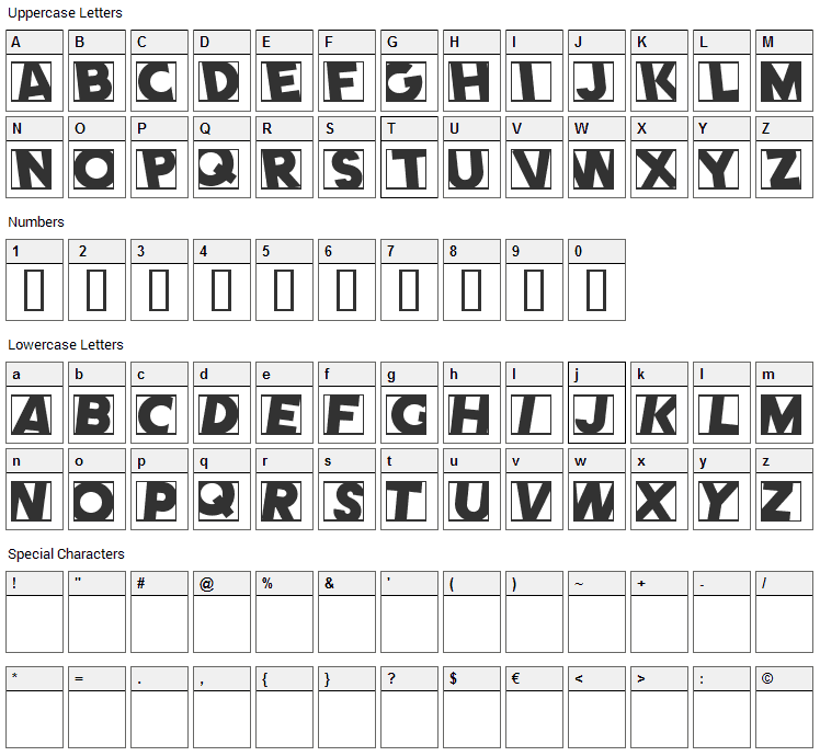 Comet Font Character Map