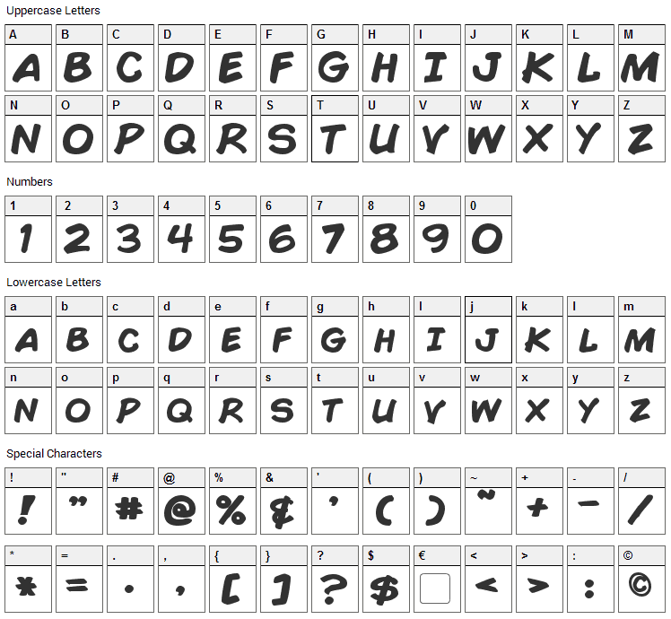 Comic Book Font Character Map