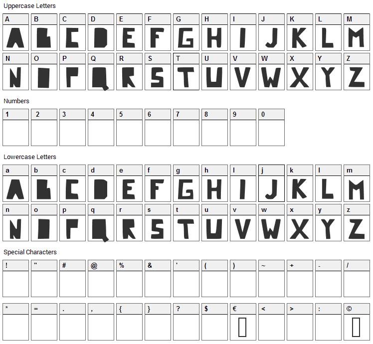 Comic Dandy Font Character Map