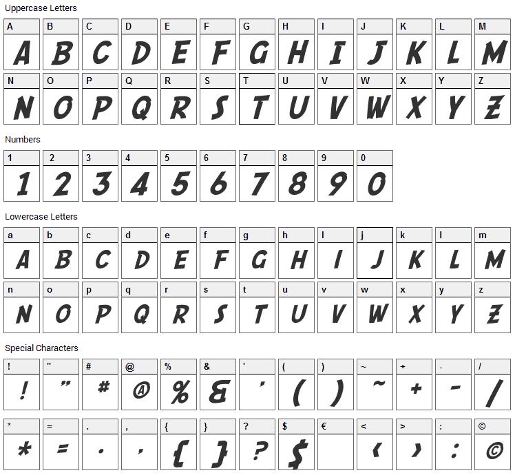 Comic Script Font Character Map