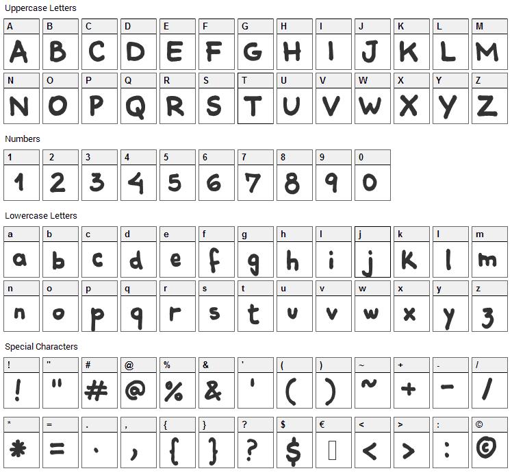 Comiquita Sans Font Character Map
