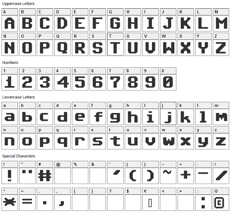 Commodore 64 Font Character Map