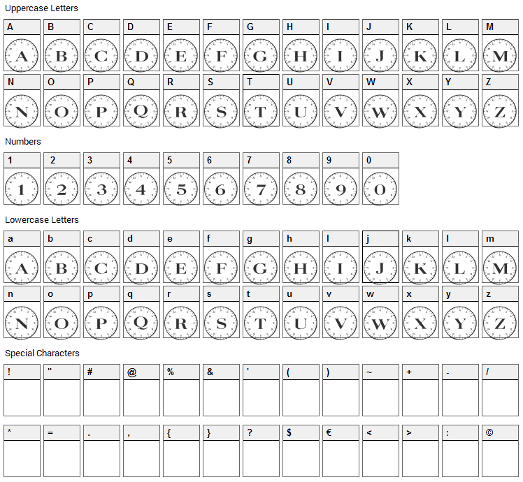 Compass Font Character Map