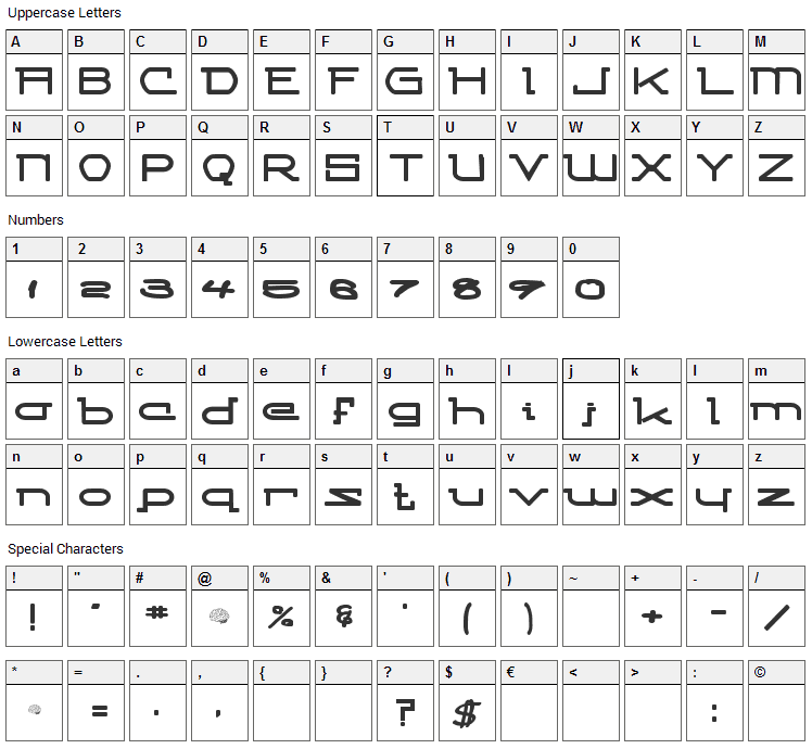 Competitor Font Character Map