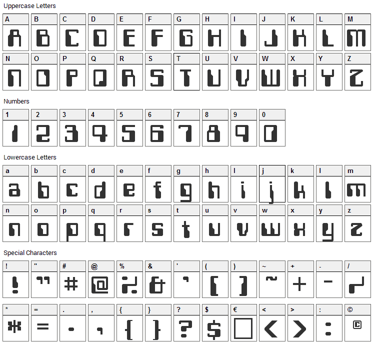 Computerfont Font Character Map