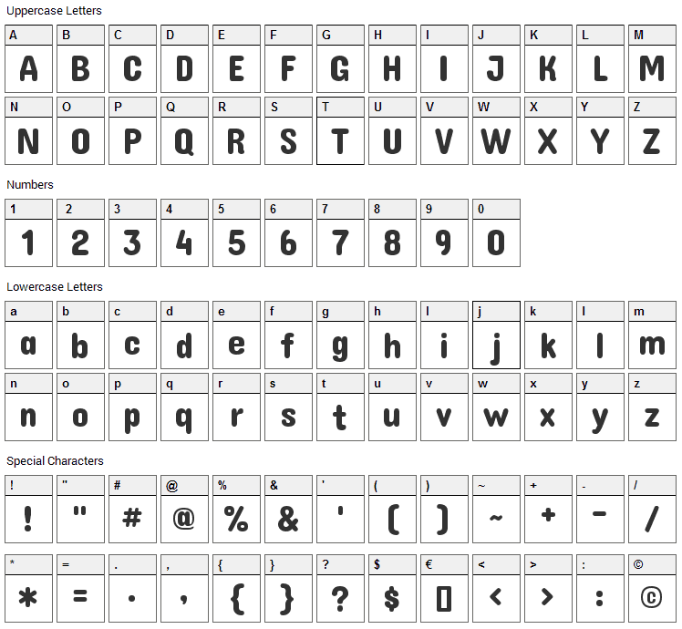 Concert One Font Character Map
