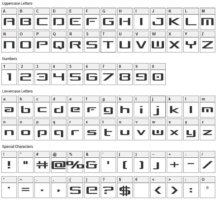 Concielian Break Font Character Map