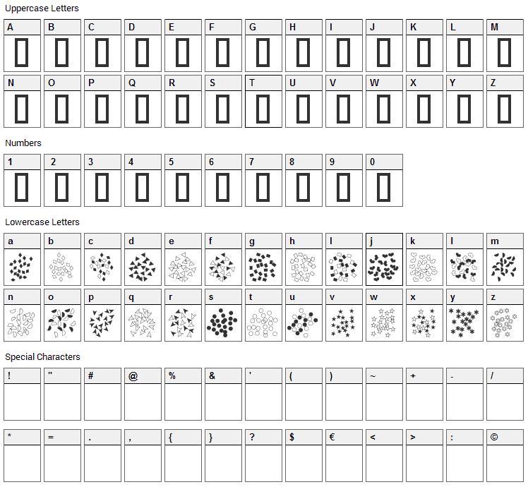 Confetti Font Character Map