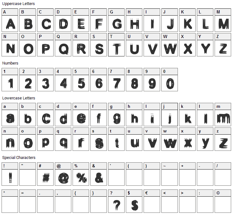 Configuration 9 Font Character Map