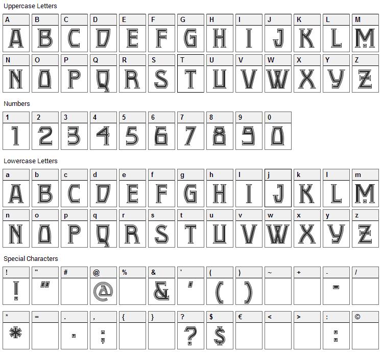 Conquistadorman Font Character Map