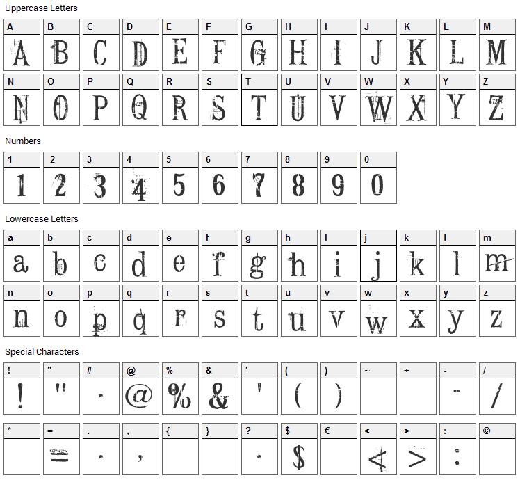 Conrad Veidt Font Character Map