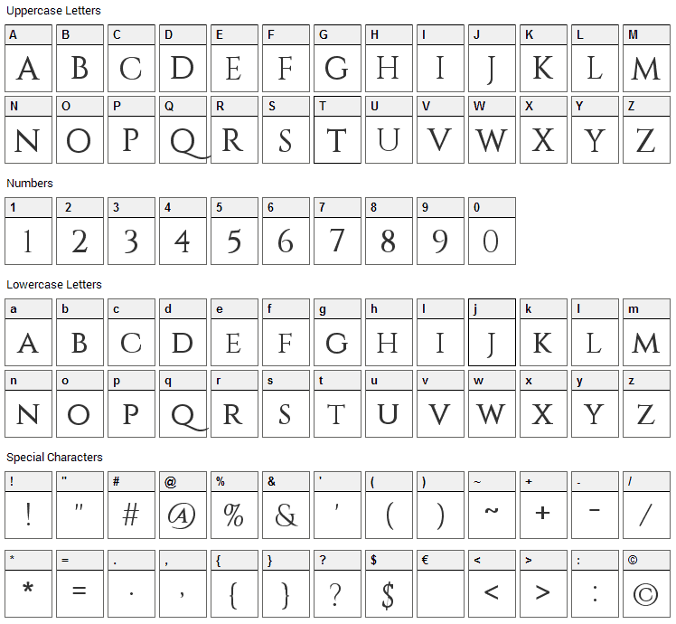 Constantine Font Character Map