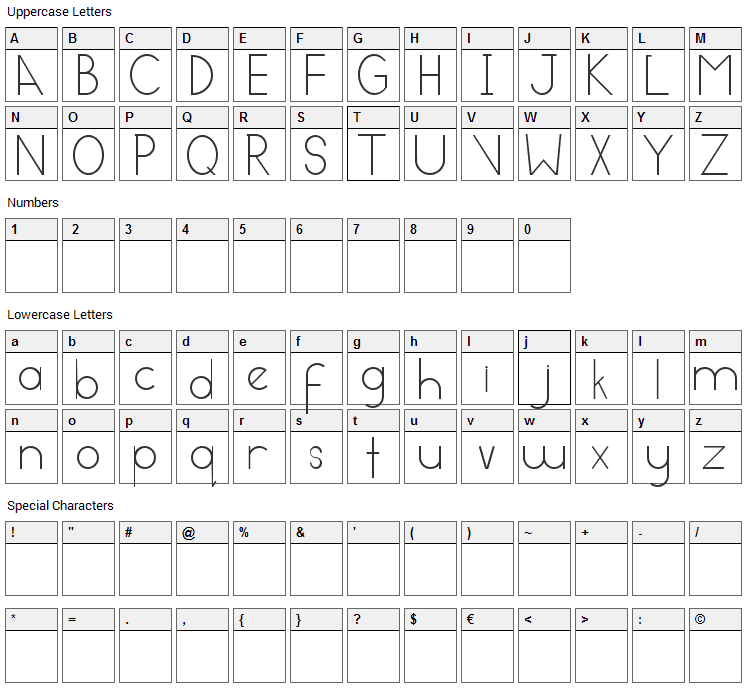 Contempory Modern Font Character Map