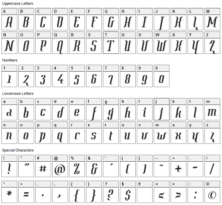 Context Font Character Map
