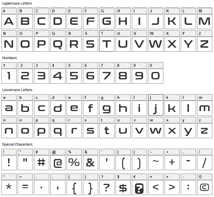 Conthrax Font Character Map