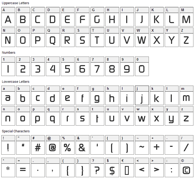 Continuum Font Character Map