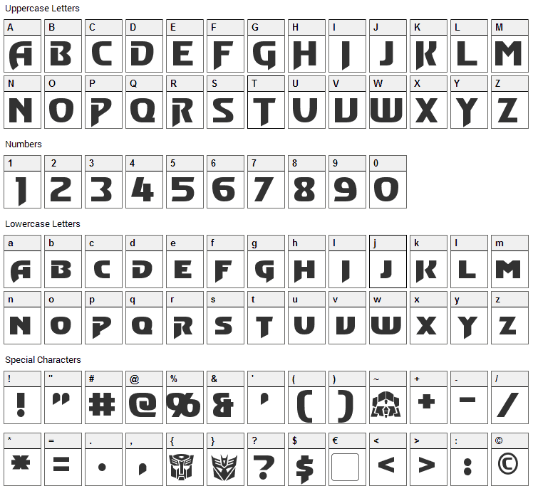 Convoy Font Character Map
