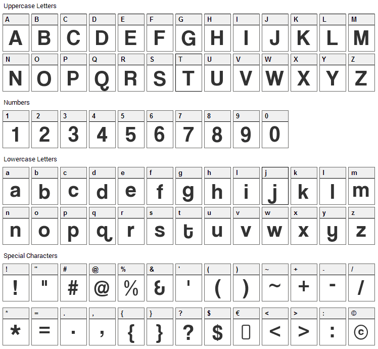 Coolvetica Font Character Map