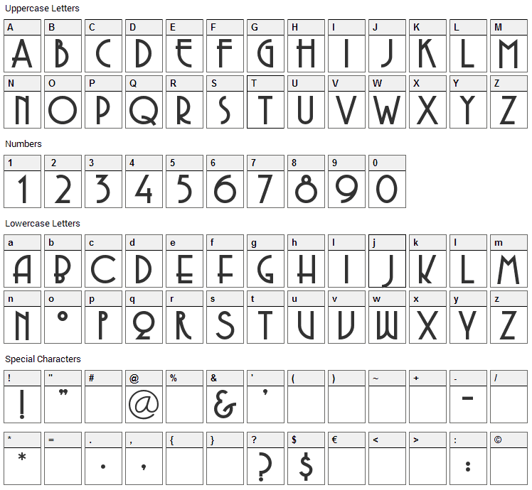 Copasetic Font Character Map