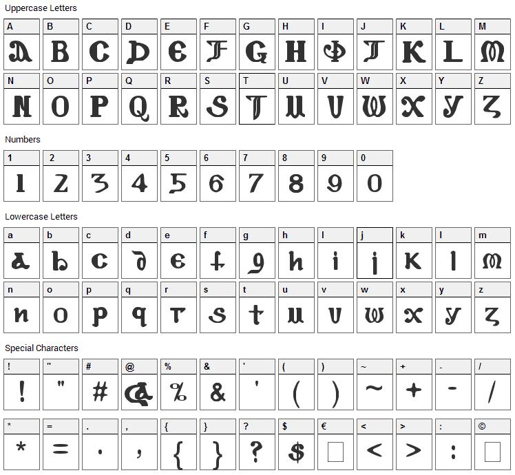 Coptic Eyes Coptic Font Character Map