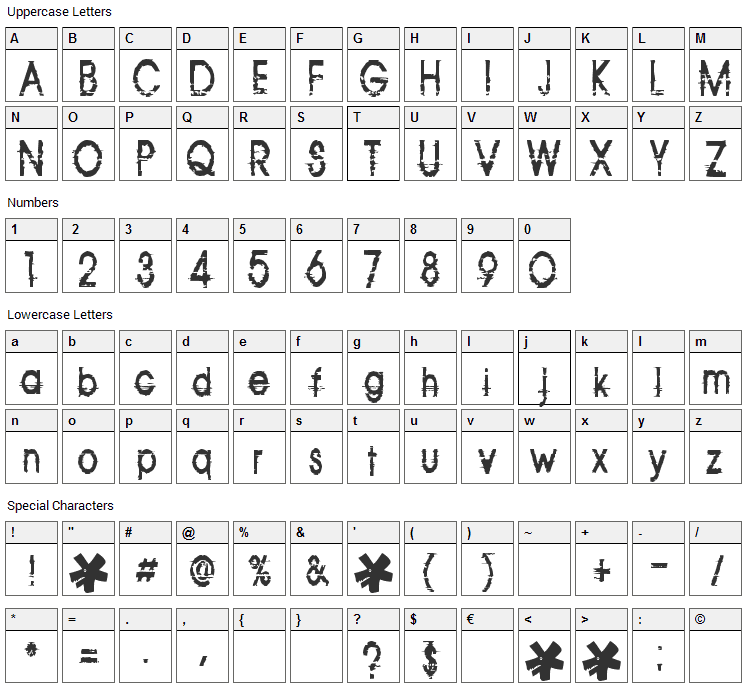 Corazon Font Character Map