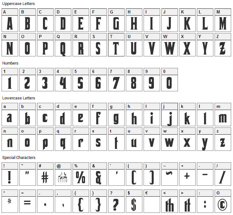 Corleone Font Character Map