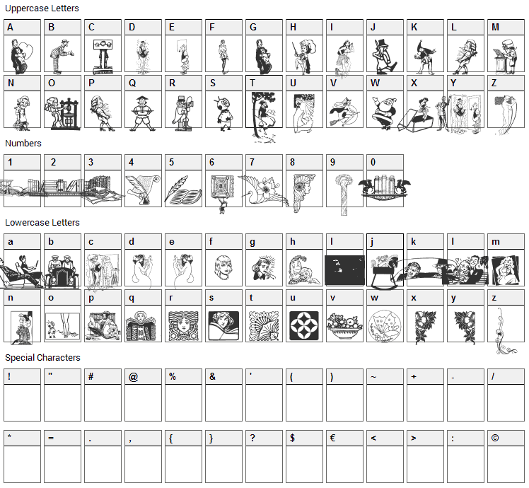 Cornucopia of Dingbats Font Character Map