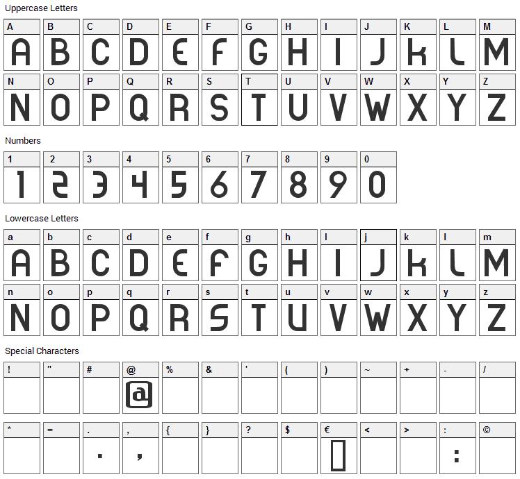 Corporea Font Character Map