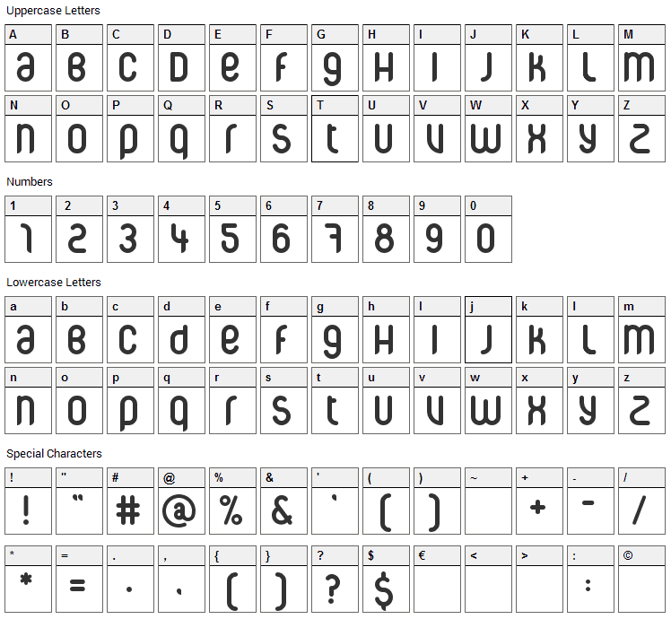 CorpusCare Font Character Map