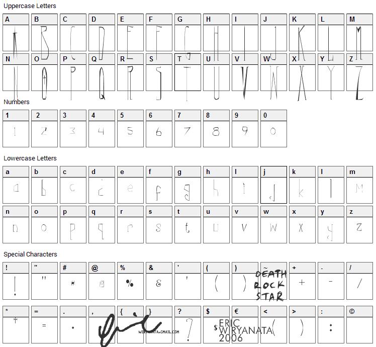 Correys Font Character Map