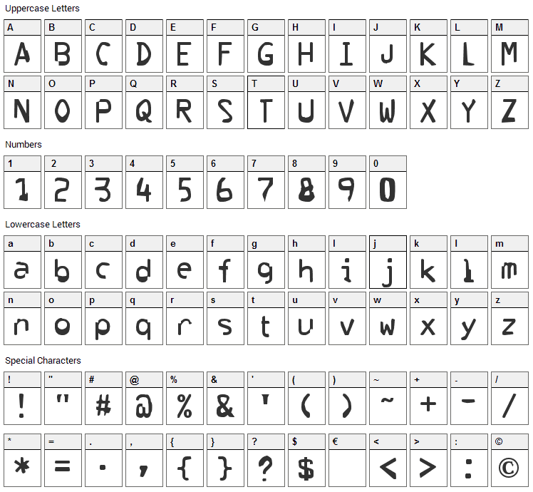 Corrupter Font Character Map