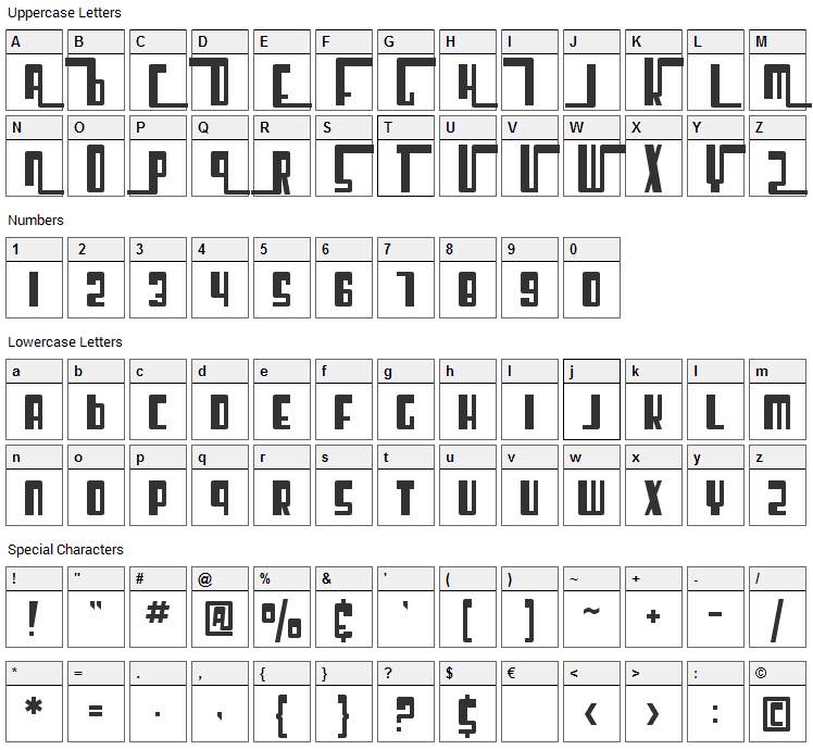 Cosmic Age Font Character Map