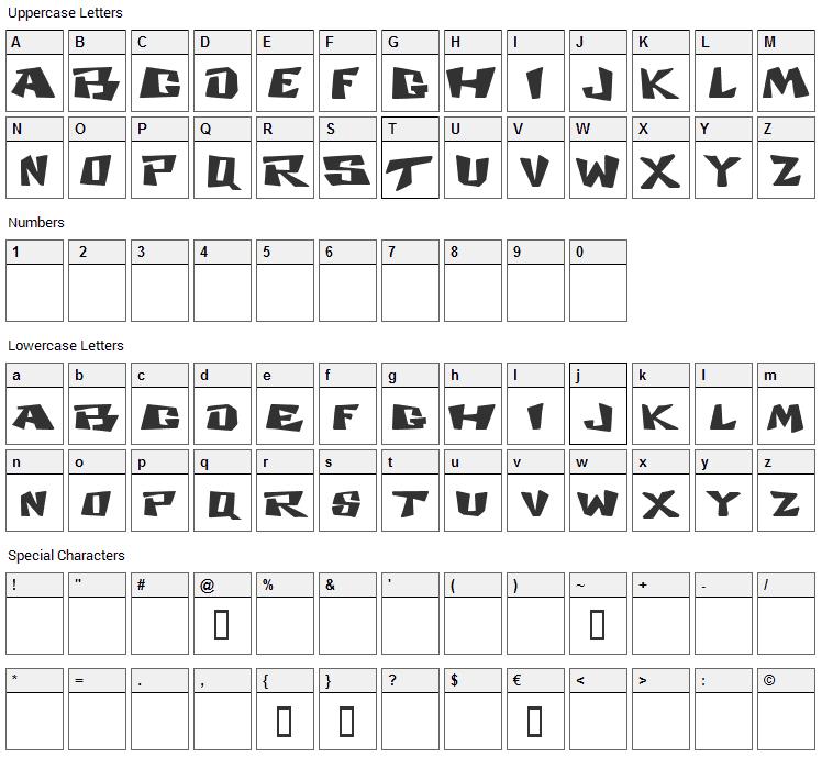 Cosmic Dude Font Character Map