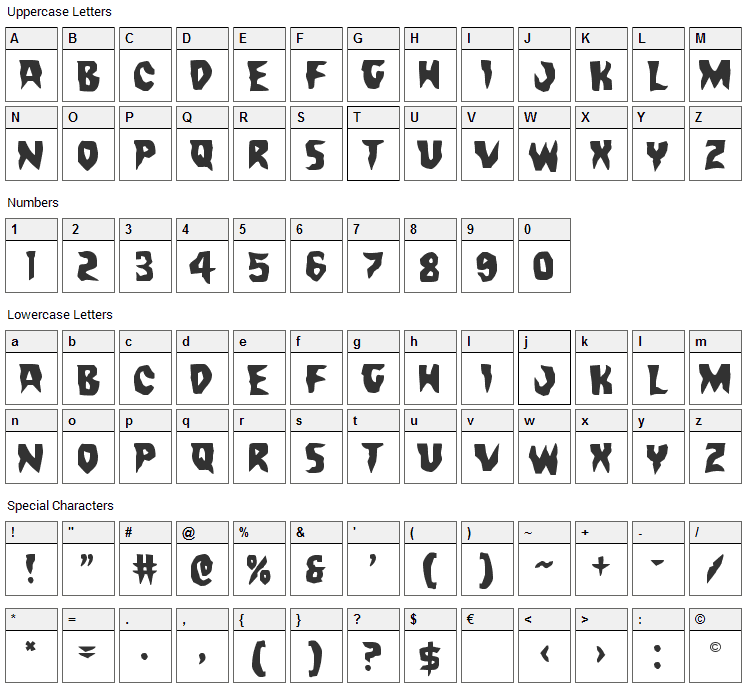 Count Suckula Font Character Map
