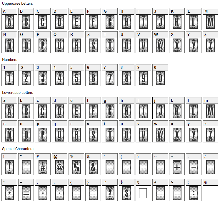 Counter-Dial Font Character Map