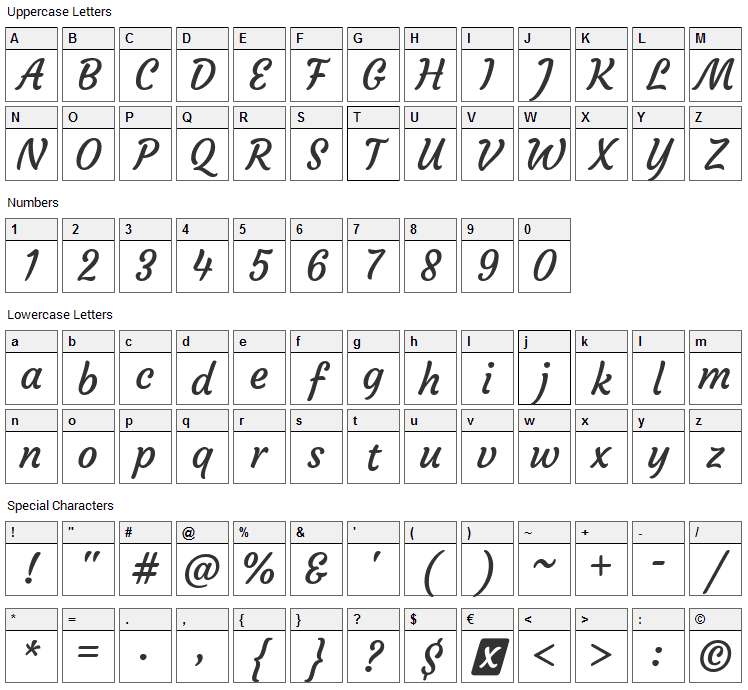 Courgette Font Character Map
