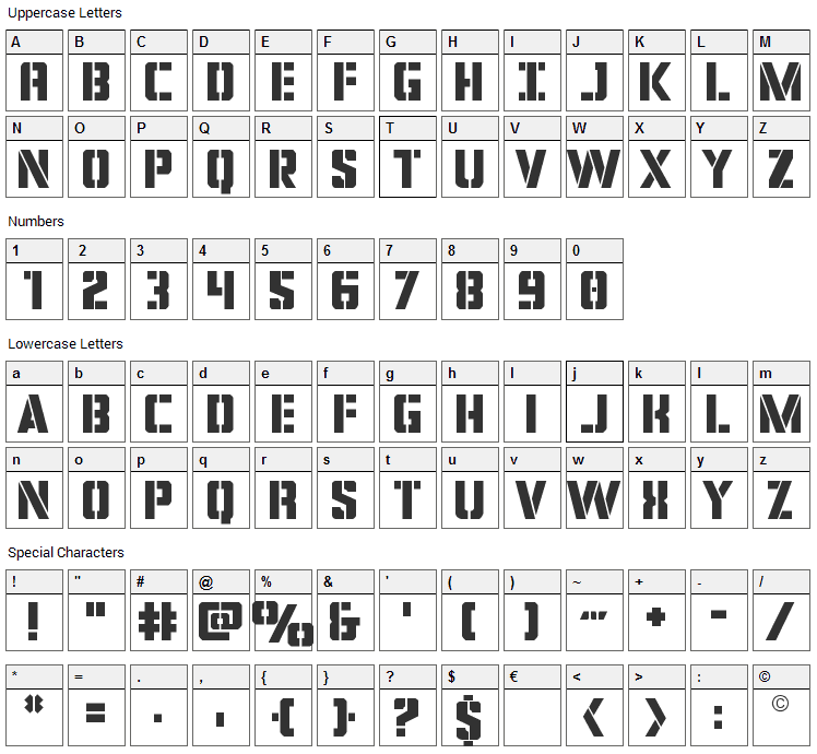 Covert Ops Font Character Map