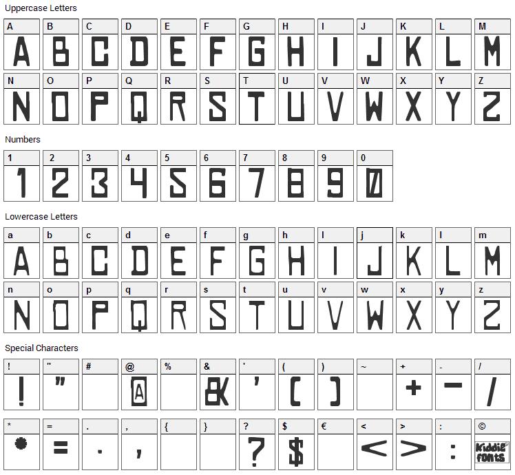 Cowabunga Font Character Map