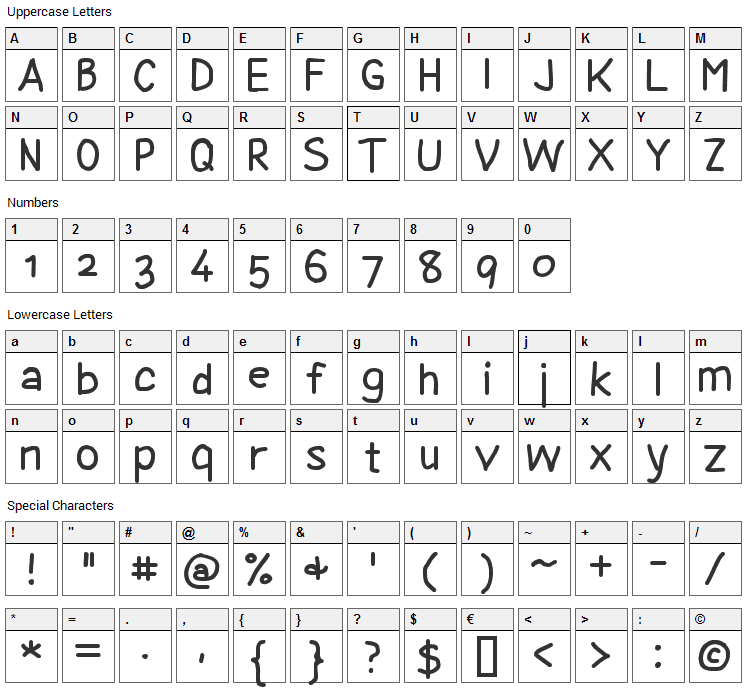 Coyotris Comic Font Character Map