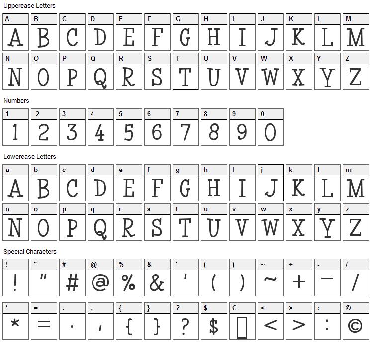 Coyotris Serif Font Character Map