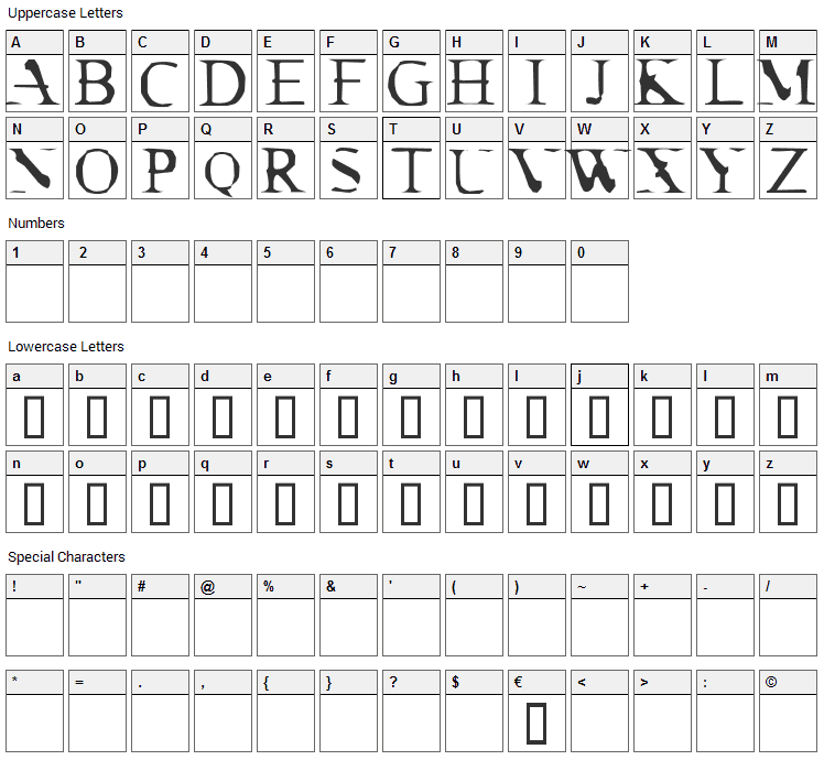 Cracked Dendrite Font Character Map