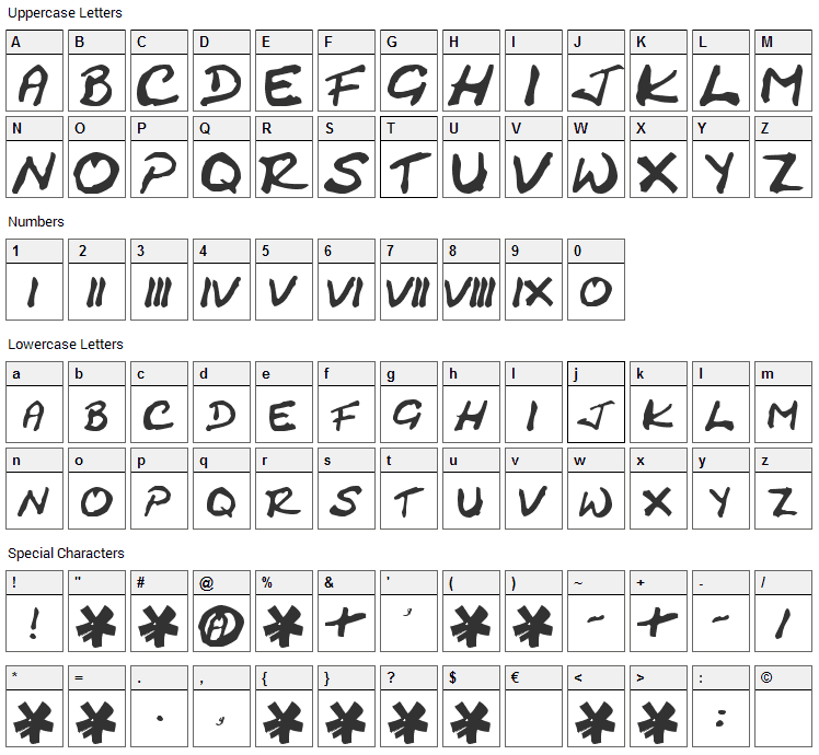 Cracked Johnnie Font Character Map