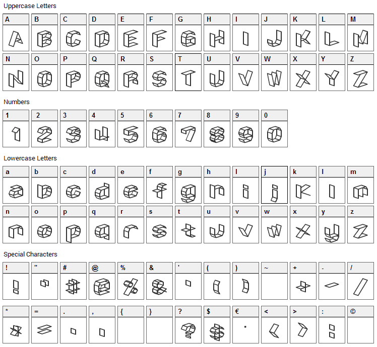 Craftism Font Character Map