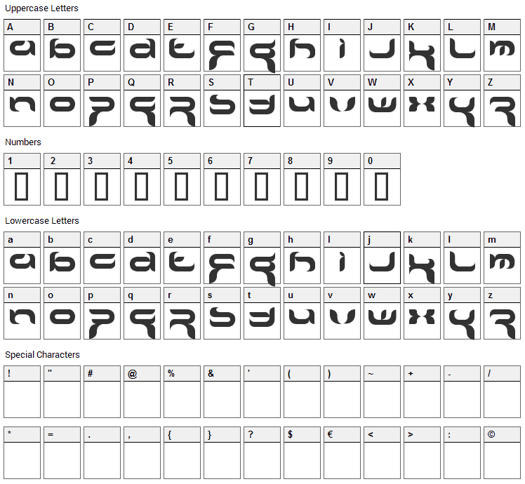 Crafty Font Character Map
