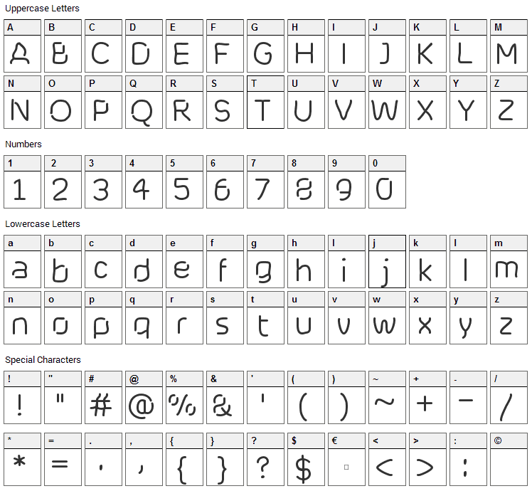 Cranberry Blues Font Character Map