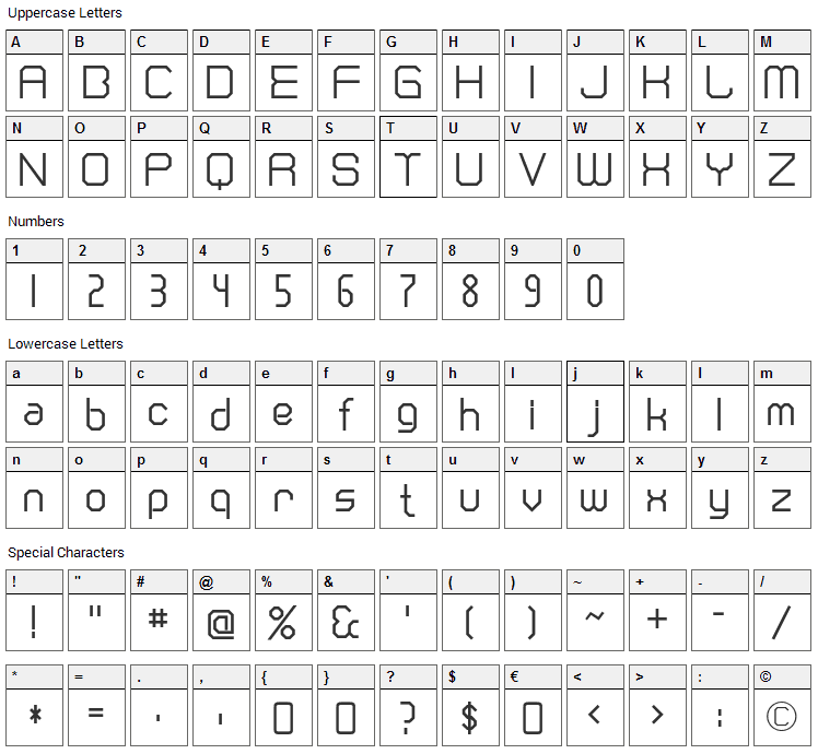 Cranberry Gin Font Character Map