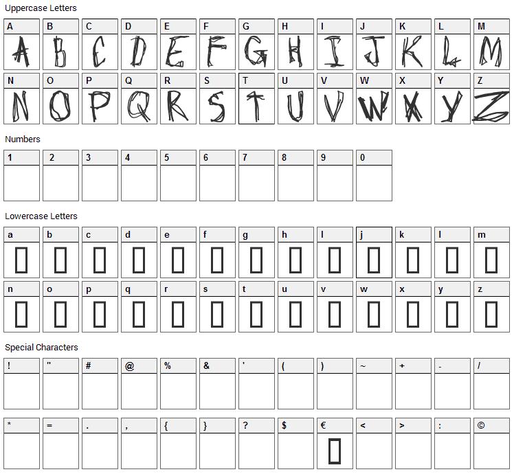 Craptacular Font Character Map