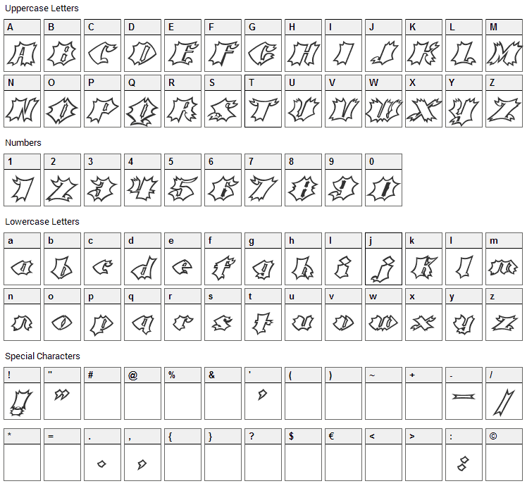 Crash Font Character Map