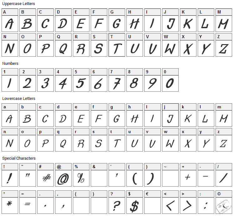 Crash Test Font Character Map