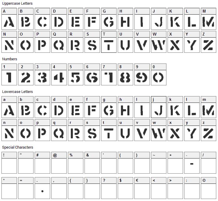 Crass Font Character Map